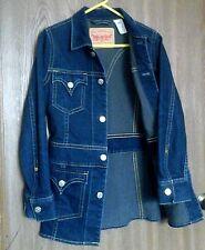 LEVIS Womens Type 1 Long Iconic Dark Denim Vtg Jean Jacket Western Farm Coat M