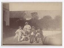 PHOTO ANCIENNE Chien Dog Portrait Groupe Chasseur Fusil de Chasse Arme Vers 1900