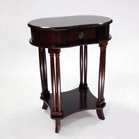 Tavolino salotto in legno stile antico/classico ovale consolle cassetto con base