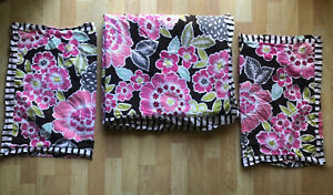 Pottery Barn Teen Twin Duvet TWO Standard Shams Pink Green Floral Choc Brown