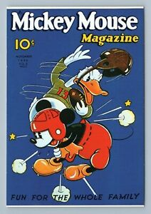 Vtg Mickey Mouse Magazine Cover Disney Postcard Football Tackling Donald Duck