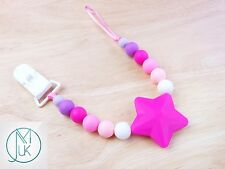 Fuchsia Star Soother Dummy Clip Holder Teething Silicone Beads Safe BPA Free