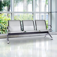 3-Seat Waiting Chair Airport Bench Reception Room Chair Office Salon Silver