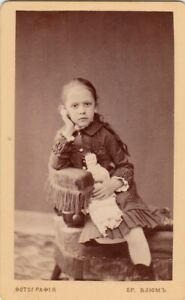 1882 CDV Cute little girl w/ doll toy long hair child old Russian antique photo