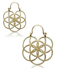 "PAIR 18g (1MM) 1"" 1/4 INCH FLOWER BRASS PLUGS EARRINGS HOOPS HANGERS GAUGES"