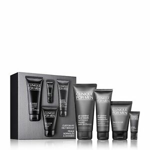 Worth £93 Clinique For Men Oily Skin Set Moisturiser Eye cream Face Scrub Wash..