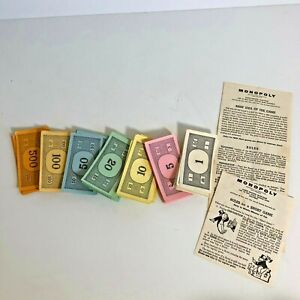 Monopoly 1961 Vtg Board Game Pieces Money $1 $5 $10 $20 $100 $500 Instructions