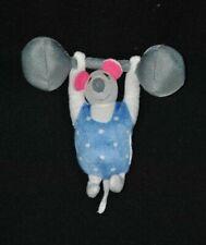 Peluche doudou souris blanc bleu IKEA Circus haltères gris grelot 14 cm TTBE