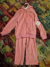 NWT Juicy Couture Girls Velour Set Jacket Pants Pink Tracksuit Sweatsuit Size 5