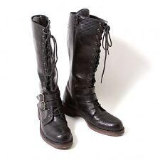 LIMI feu Leather biker long boots Size About US 7(K-46980)