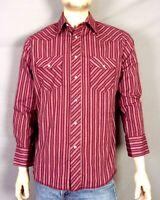 vtg 80s 90s Wrangler Southwest Striped Western Pearl Snap Shirt Dark Red M