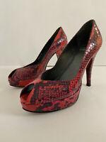 Stuart Weitzman Women's Red Snakeskin Peep-toe Pumps Heels Platforms Size 5.5