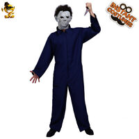 Adult Men's Horror Clown Costume Masquerade Halloween Killer Blue Jumpsuit