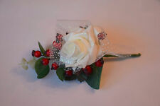 Christmas White Glitter Rose and Berries with Diamante Buttonhole