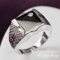 18K White Gold Plated Simulated Diamond Classic Square Shaped Men's Ring