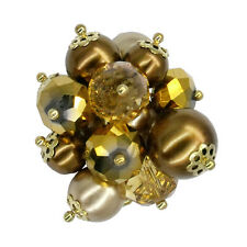 Fashion Beads Pearls Cocktail Ring Costume Jewelry Brown Crystal Adjustable Size