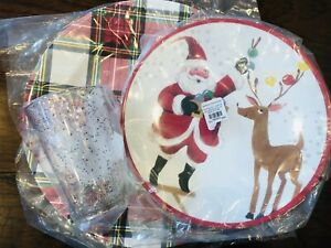 Pottery Barn Kids Jolly Santa Plate Tumbler Charger Christmas Plaid Cup Rudolph