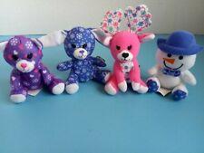 "Plush Mini 4"" Build a Bear Bunny Rabbit, Cat, Reindeer & Snowman (McDonalds) EUC"