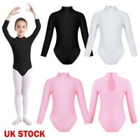UK Kid Girls Long Sleeve Ballet Dance Bodysuit Gymnastics Leotard Sports Unitard