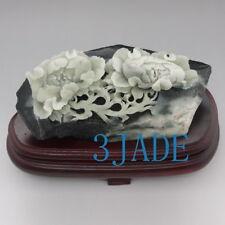 Natural Dushan Jade Stone Flower  Statue / Carving Sculpture