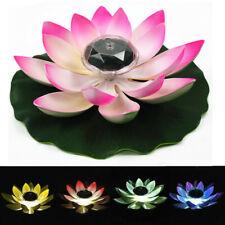 Solar Powered LED Lotus Flower Light Floating Fountain Pond Garden Pool Lamp