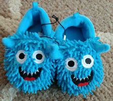 Toddler Baby Boys Sz 3 Plush Blue Monster Slippers House Shoes New