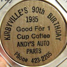 1985 Andy's Auto Parts Kirbyville, TX Wooden Nickel - Token Texas