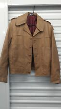 Vintage 60s Womens Leather Jacket Coat Beige