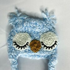 Newborn Baby Boy Owl Hat Infant Blue White Handmade Knit Crochet Photo Prop
