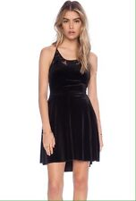 NWT Free People Night shade Mini Dress  Black Velour Lace Cocktail Party M