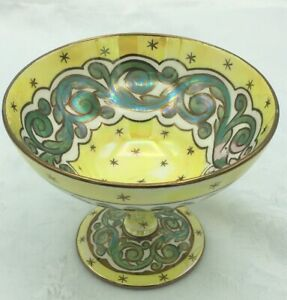 Art Nouveau Antique Wedgwood Lustreware Bowl- Yellow Stars And Laurel Scroll