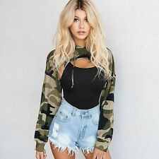 Women Fashion Long Sleeve Hollow out Tops Camouflage Print T-shirt Hooded Blouse Regular M Green
