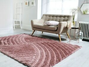 VERGE FURROW HAND CARVED HIGH PILE SOFT 3D HEAVY SHAGGY PINK RUG VARIOUS SIZES