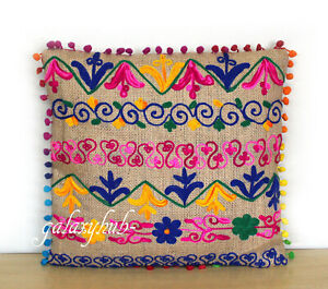 """New 16"""" Pillow Cover 24"""" Square Jute Embroidery Cushion Cover 18"""" Pillowcase D3"""