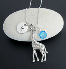 Giraffe Necklace Personalized Hand stamped Monogram Necklace-Initial Birthstone