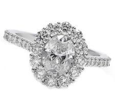 Halo Diamond Oval Cut Engagement Ring Pave 18k White Gold 2.23 Carat