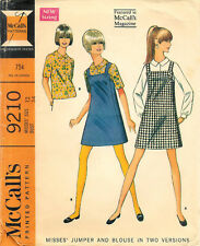 Vintage 1968 McCall's #9210 Sewing Pattern Misses Jumper Blouse 2 Versions Sz 12