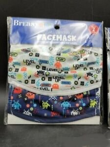 2 Breasy Kids Reusable & Washable FACEMASK  Space Invader Video Theme NIP!