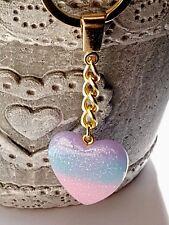 RESIN GLITTERY HEART KEYRING Pink/Blue Ladies Girls Childrens Bag Charm Keychain