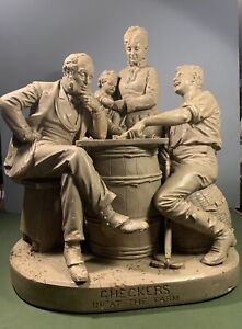 """John Rogers Group Plaster Sculpture """"Checkers Up at The Farm"""" Antique"""