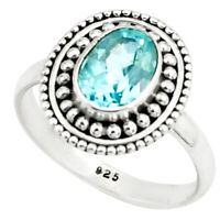1.96cts Natural Blue Topaz 925 Sterling Silver Solitaire Ring Size 6.5 P78952
