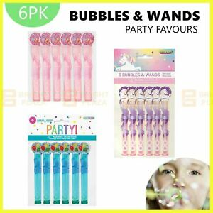 6 x Mini Bubbles & Wands Unicorn Pink Blue Birthday Party Favours Loot Treat Bag