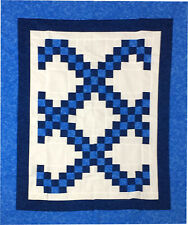 Blue & White Irish Chain patchwork QUILT TOP lap or baby size
