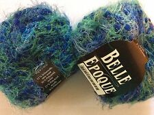 LOT of 2 Zitron Belle Epoque #08 Blue Green Wool Bulky Boucle Eyelash Blend Yarn