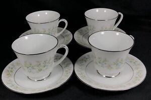 Set of 4 Noritake Savannah Platinum Cups and Saucers 2031 Floral Japan