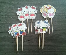 HELLO KITTY Cake Picks Cupcake Toppers Flags 12 24 36 New BIRTHDAY PARTY