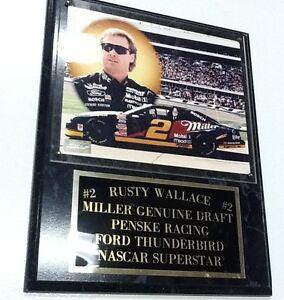 Rusty Wallace NASCAR Penske Racing Photo Plaque MGD Beer Ford Thunderbird