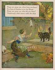 Pussy Cat Where Have You Been-Nursery Rhyme-1912 ANTIQUE VINTAGE COLOR ART PRINT