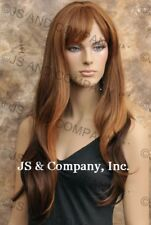 Human Hair Blend Long Straight Brown Blonde Wig W. bangs  HEAT SAFE wil 27-4-30