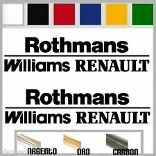 2 adesivi sticker ROTHMANS WILLIAMs RENAULT  prespaziato,auto 19,5 cm